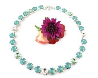 Sea Foam - Swarovski  Crystal Rivoli Rhinestone  Silver Necklace, Anna Wintour Inspired, 11 mm Big Stones Necklace Layering Necklace