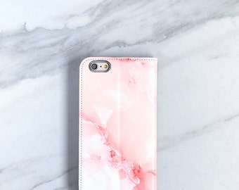 Pink Marble Faux Leather Wallet Case, iPhone 6 / 6S / 7 Plus Womens Wallet