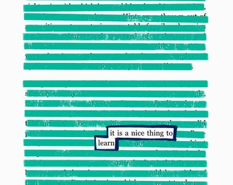 Learn-Blackout Poetry C-Print by Staunch Studio 8x10