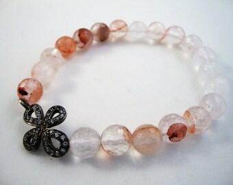 23mm genuine pave topaz sterling silver cross connector on 8mm rose quartz stacking bracelet