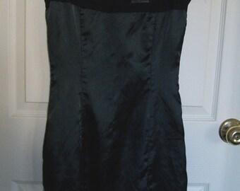 Black Satin Dress Sheer Netting Top Goth Dress