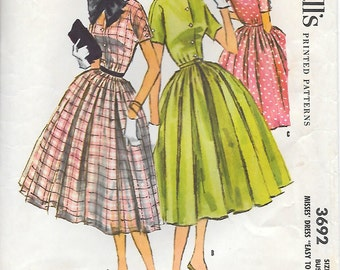 "McCalls 3692  1950s Shirtwaist Dress with Pleated Skirt and Neck Bow Vintage Sewing Pattern Size 14 Bust 32 ""Easy to Sew"""