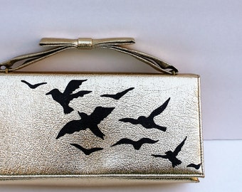 Vintage Purse / Gold Purse / Prom Purse / Wedding Purse / Wedding Gift / Bridesmaid Purse / Purse with Birds / Birds / Painted Purse
