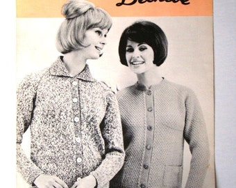 Vintage Raglan Jackets Pattern Patons Beehive No 2035 Sweater Jacket Knitting Pattern Sizes 12 14 16 18 Button Front Cardigan Pockets