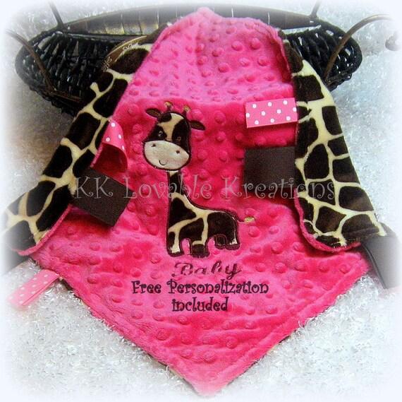 Personalized baby girl lovey, giraffe tag along security blanket, hot pink & brown giraffe minky fleece lovie, jungle theme nursery lovy