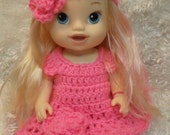Clothes For 13 inch dolls.4 piece Dress Set. Different color Choices.