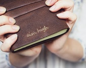 Custom Quote Embroidered Leather Journal - Leather A6 - Custom Text Hand Embroidery - Personalised 6x4 Soft Cover Blank Book