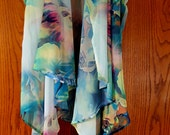 Green flower vest, fun long vest with water color look, pinks, purples and white duster vest, by Styx