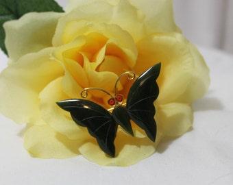 Vintage Carved Jade Butterfly Brooch