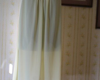 Vintage 1960s VANITY FAIR Yellow Nylon Tricot Honeymoon Nightie with Lace Trim, Small