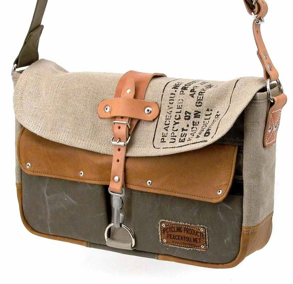 Canvas Messenger Recycled Leather Jacket German Duffle Bag Crossbody Bag / Handmade in GERMANY / Model paul-2037 ( multiple options )