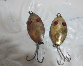 Brass Red Eye Wigglers Set of 2 Fishing Lure