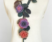 ROSA -  Purple and Green - Crochet Multicolor Roses Scarf/Lariat