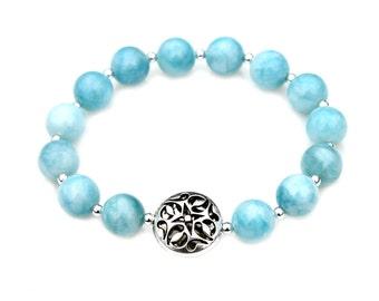 Blue Larimar Bracelet Larimar Jewelry Beaded Bracelet Blue Beaded Bracelet Feminine Jewelry Silver Charm Something Blue Stackable Mei Faith