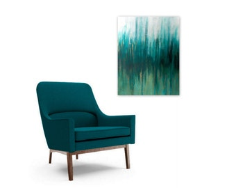 Abstract Art Print Instant Digital Download - teal white gold - Modern Home Decor by Jessica Torrant
