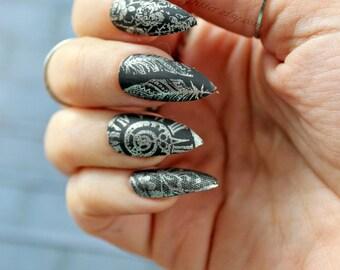"Black Matte Stiletto Fake Nails, ""Antiquity"" Stiletto Nail, Matte Black, Gothic Fake False Nail, Vintage Gothic, Stiletto, Acrylic Nail"