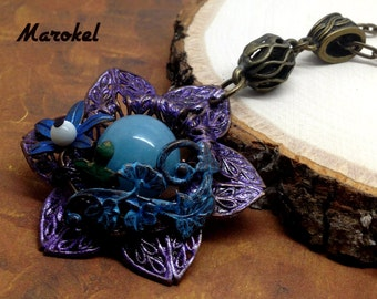 Plum Filigree Flower Necklace Vintaj Brass Hand Painted Vintage Style Cyan Lavender Floral Shell Royal Blue Aquamarine