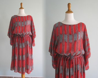 Gorgeous 80s Red Static Dress - Vintage Red, Black, and White Flowing Dress - Vintage 80s Dress XL Plus Size