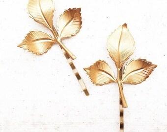 Gold LEAF Branch Bobby Pins Hair Accessories Woodland Wedding Golden Leaves Fairy Faerie Nature Garden Wedding Bridal