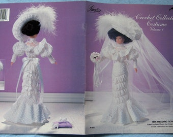 crochet collector costume volume 1 -  1905 Wedding Gown/ Bridal Slippers/ Hat/ Corset/ Bloomers / Bouquet