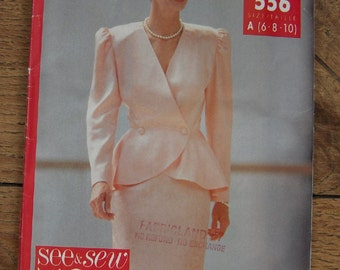 vintage 1990 butterick see and sew pattern 5246/556 misses top skirt sz 6-8-10 uncut