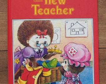 vintage 80s A happy ending book The New Teacher children picture book girl boy