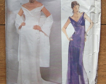 1998 Vogue pattern 2134 Misses EVENING DRESS and SHAWL sz 18-20-22