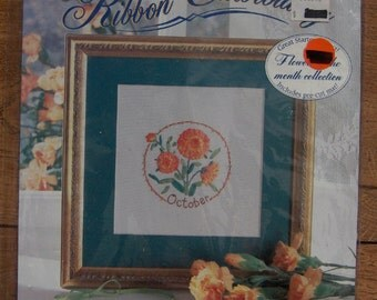 1994 RIBBON EMBROIDERY kit October marigold NIP