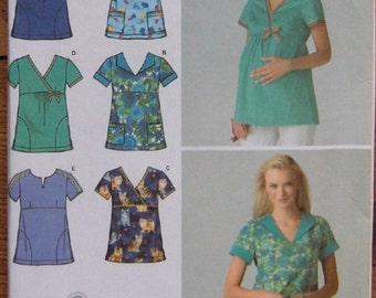 2007 simplicity pattern 3645 misses scrub tops includes bonus maternity scrub top pattern sz 14-16-18-20-22 uncut  neckline variations