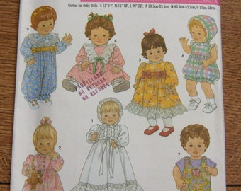 2003 sewing pattern simplicity 5419 baby doll clothes - 3 sizes 12-22 inches uncut toy children girl