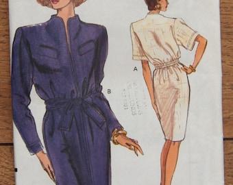 vintage 1990 vogue pattern 7828 misses dress loose fitting straight back elastic sz 8-10-12 uncut