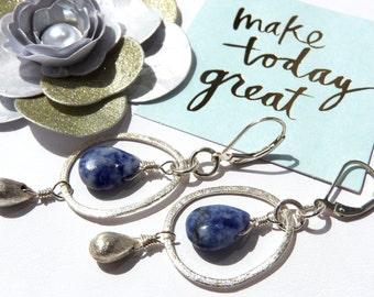Trendy Sodalite Sterling Silver Earrings-Reduced