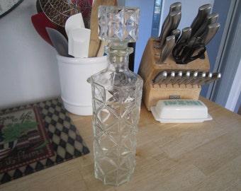 Tall Cut Glass Liquor Decanter w/Cork Stopper