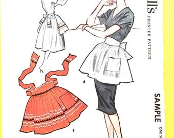 1950s McCall's Sample Vintage Apron Sewing Pattern  One Size