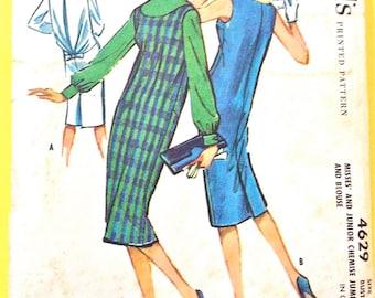 1950s McCall's 4629 Chemise Dress, Jumper & Blouse Back Interest  Vintage Sewing Pattern Bust 34