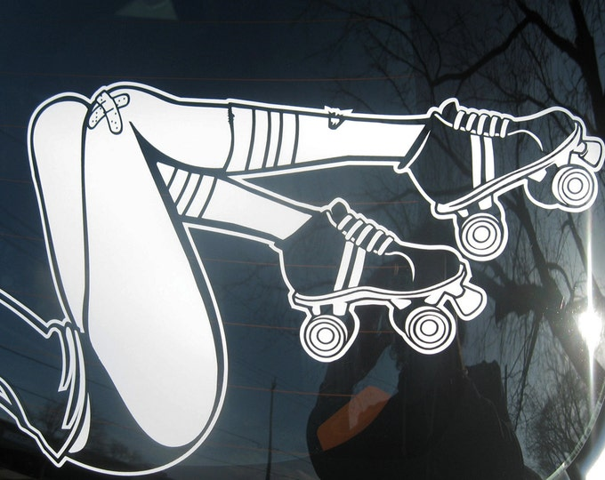 roller derby car decal, auto decal sticker art, rollerskates car decal, FREE SHIPPING