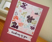 Thinking of You Card - Purple Flowers Butterflies