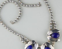 Vintage Lapis Sterling Silver Squash Blossom Necklace, Southwest Native American, Bench Beads Native American Jewellery
