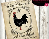 Rooster Vintage Farmhouse Bed Breakfast Digital Collage Sheet 8.5x11 Image Transfer Wall Art Instant Download Printable UPrint 300jpg