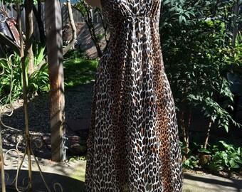 1970's Vintage Vanity Fair Leopard Nightgown~Floor Length~Empire Waist