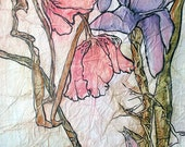Original Painting POPPIES and IRIS Floral ZEN Inspired Watercolor On Tissue Lynne French Art Free Shipping