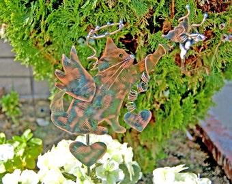 Cat Pet Grave Marker / Outdoor Metal Garden Stake / Pet Memorial / Copper Art / Angel Cat / Cat Yard Art Sculpture Sign / Cat Lovers Gift