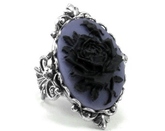LAST ONE! Gothic Mourning Ring - Adjustable Black on Purple Rose Cameo Ring with Sterling Silver Plated Band