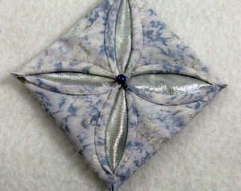 Blue and Silver Cathedral Window Quilted Christmas Ornament 153