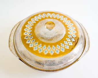 Vintage 1960s Cookware / 60s Pyrex Culver Design Lidded 3 Qt Casserole Dish VGC / Speckled Gold Diamond Turquoise
