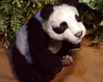Needle Felted OOAK Panda Teddy Bear. Ready to ship