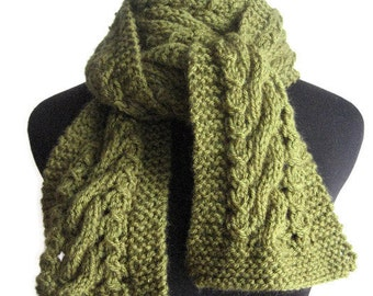 Hand Knit Scarf, Olive Green Cable and Lace Vegan Scarf, The Stef Scarf, Fall Scarf, Gifts For Vegans, Womens Accessory, Fall Fashion Scarf