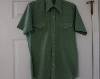Vintage Western Shirt Green Short Sleeve Pearl Snap Mens Small  1970s