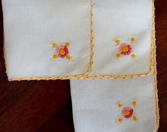 Vintage Linen Doily Embroidered Flowers Crochet Orange Edging Set of Three