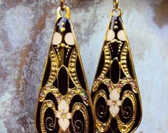 Vintage Style Earrings Art Nouveau Long Medallions Black Gold Enamel Enameled Aurora Borealis Rhinestones AB Victorian Style Statement